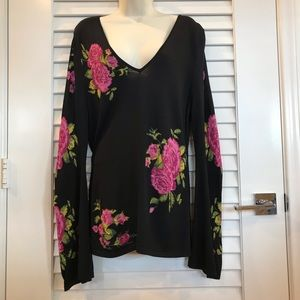 INC Black V Neck Sweater with Flowers